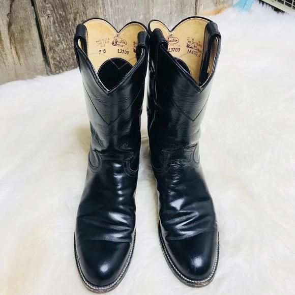 7baf4b69dde JUSTIN CORA Classic Black Roper Kipskin Boots